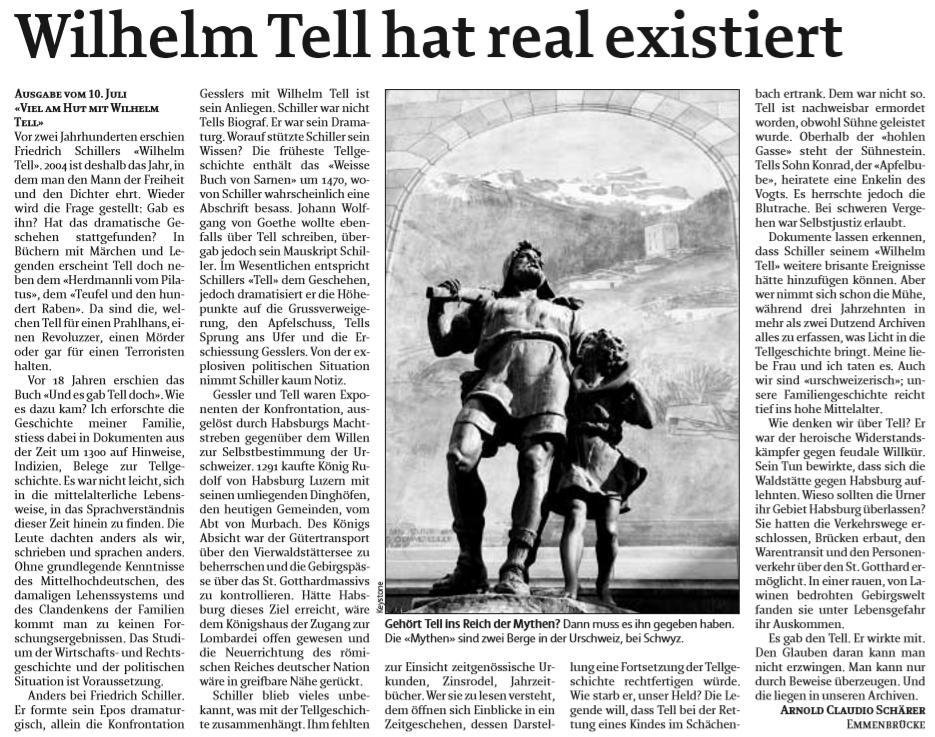 Wilhelm Tell hat real existiert und ist kein Mythos!