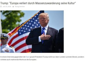 Trump: Europa verliert durch Massenzuwanderung seine Kultur !